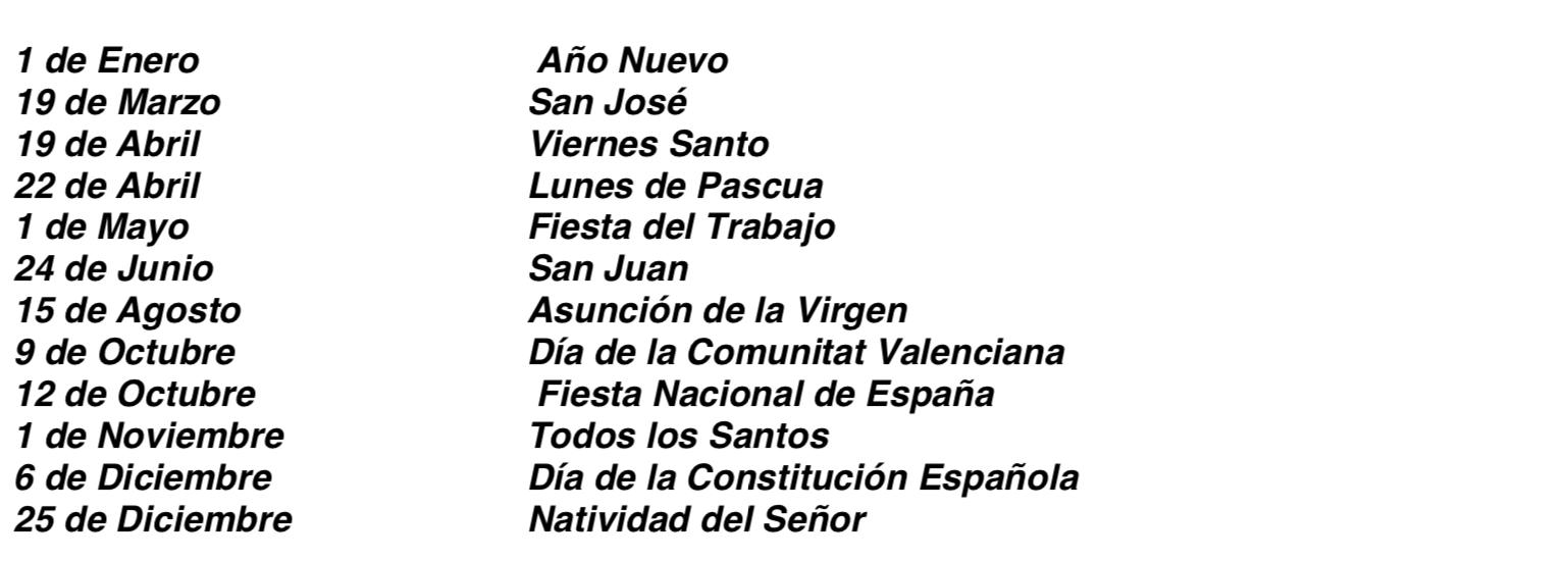 Calendario Laboral 2020 Comunidad Valenciana Dogv.Fiestas Laborales Comunidad Valenciana 2019 Gomez De La Flor