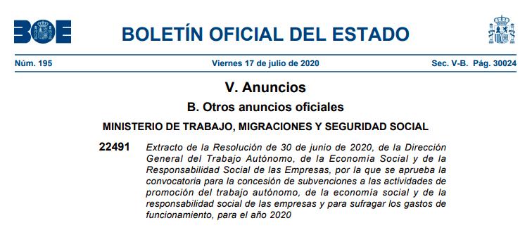 Subvenciones a las actividades de promoción del trabajo autónomo, de la economía social y de la responsabilidad social de las empresas